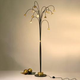 Impressionnant lampadaire Fontaine, brun et or