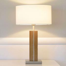 Lampe à poser Dana, pied en bois, abat-jour tissu