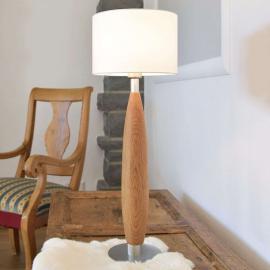 Lampe à poser Paula en tissu à pied en bois