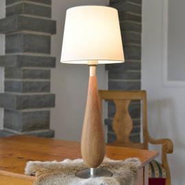 Lampe à poser Lara en bois, abat-jour tissu, 61cm