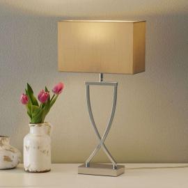 Lampe à poser textile Anni chromée-cappuccino