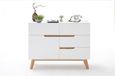 Cervo Buffet typ42 - 4 tiroirs - 1 compartment – blanc haute brillance laqué blanc bois de placage de chêne – 60's style rétro.