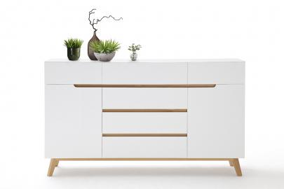 CERVO buffet typ 44 – 6 tiroirs - 2 compartiments - blanc haute brillance laqué fini mat – bois de placage de chêne – fabriqué en Europe
