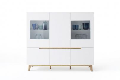 CERVO typ47 – vitrine – 6 portes (compris 2 deux façades en verre) 2 verre étagères – 2 étagères - white matte finish