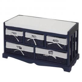Mendler Commode, banquette avec 5 tiroirs 77x45x36cm, style shabby, vintage ~ bleu