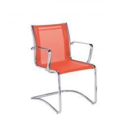Fauteuil visiteur Sky Rete maille orange - Dossier H 40 cm