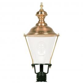 Luminaire pour socle K4b vert et chapeau cuivre