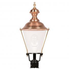 Luminaire pour socle avec chapeau cuivre K4b noir