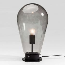 Lampe de table en verre gris Bulb à pied noir