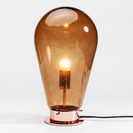Lampe de table en verre teinté Bulb en brun