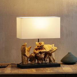 Lampe à poser Nature Vertical, pied en bois flotté