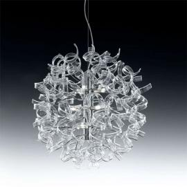 Suspension moderne ASTRO, 9 lampes, transparente