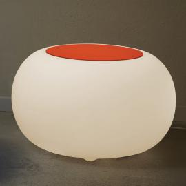 Table d'appoint BUBBLE blanche avec feutre orange