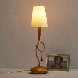 Lampe à poser dorée Paola avec abat-jour en tissu