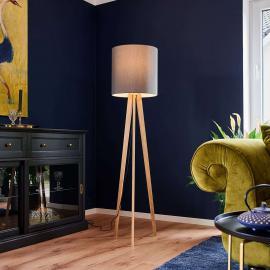 Lampadaire textile Nida support en bois, graphite
