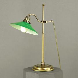 Lampe de bureau verte VERDINA, aspect patine