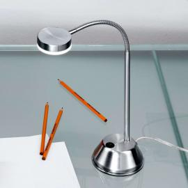 Lampe à poser flexible LED Colin nickel satiné