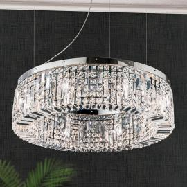 Suspension cristal Ring 80 cm chromée
