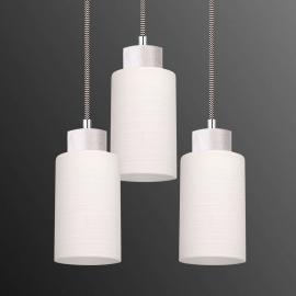 Suspension ronde Bosco blanc à 3 lampes