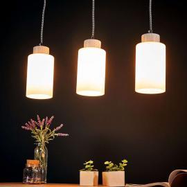 Suspension barre Bosco blanc à 3 lampes