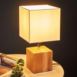 Lampe à poser rect. bois Trongo câble noir-blanc
