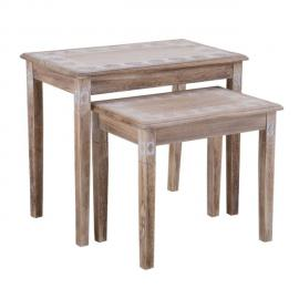 IDIMEX Lot de 2 tables gigognes RILEY tables à café tables basses tables d'appoint bouts de canapé, en bois de paulownia vintag