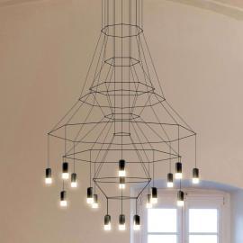 Suspension LED impressionnante Wireflow, noire