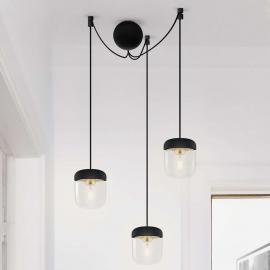 Suspension Acorn à 3 lampes, noir et laiton