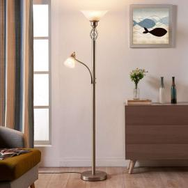 Lampadaire LED Dunja couleur nickel avec liseuse