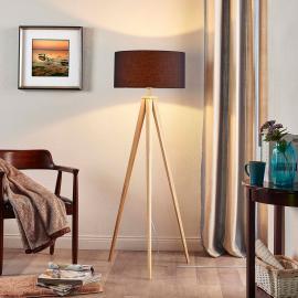 Mya - lampadaire bois et abat-jour tissu noir