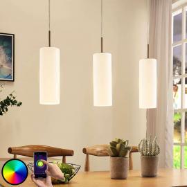Suspension LED Felice verre à 3 lampes, app