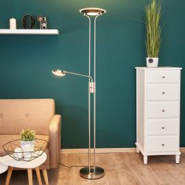 Lampadaire à éclairage indirect LED Aras en nickel