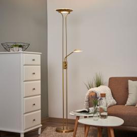 Lampadaire LED couleur laiton Aras avec liseuse