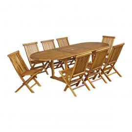 Salon de jardin Acacia FSC couleur teck 8 places : table 180/237cm + ...