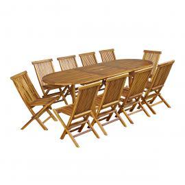 Salon de jardin Baya en teck huilé 10 chaises, grand modèle