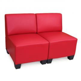 Mendler Canapé modulaire à 2 places Lyon, similicuir ~ rouge, sans accoudoirs