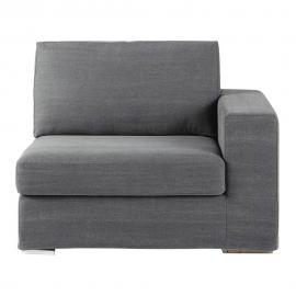 Accoudoir droit de canapé en coton gris Anvers