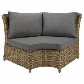 Angle rond de canapé de jardin en résine tressée et coussins gris St Raphaël