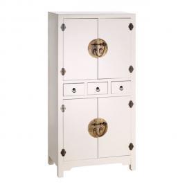 Tousmesmeubles Armoire 4 portes, 3 tiroirs Blanc Meuble Chinois - Pekin - L 63 x l 33 x H 131