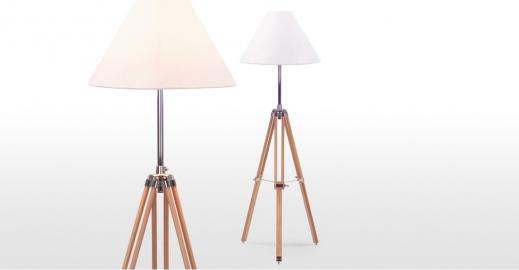 Navy, lampadaire tripode en bois naturel