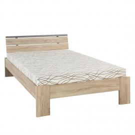 Lit Megan - 120 x 200cm - Structure de lit avec matelas et sommier - Imitation chêne brut de sciage, Home Design