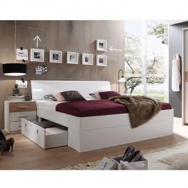 Ensemble de chambre à coucher Veneta (3 éléments) - Blanc / Imitation chêne de San Remo, mooved