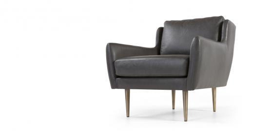 Simone, fauteuil, cuir gris de qualité supérieure