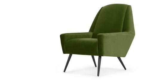 Roco, fauteuil d'appoint, velours vert cèdre