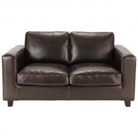 Canapé 2 places en croûte de cuir marron Kennedy