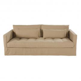 Canapé 3/4 places en lin lavé beige Basile
