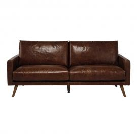 Canapé 3 places en cuir marron cognac Hooper