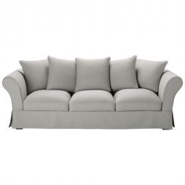 Canapé 4/5 places en coton gris clair Roma