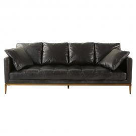 Canapé 4 places en cuir noir Foals