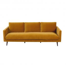 Canapé 4 places en velours jaune moutarde Kant